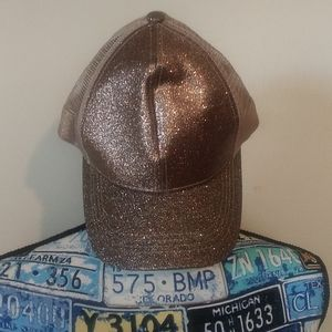 NWT C.C ponycap hat. Smoky topaz with glitter